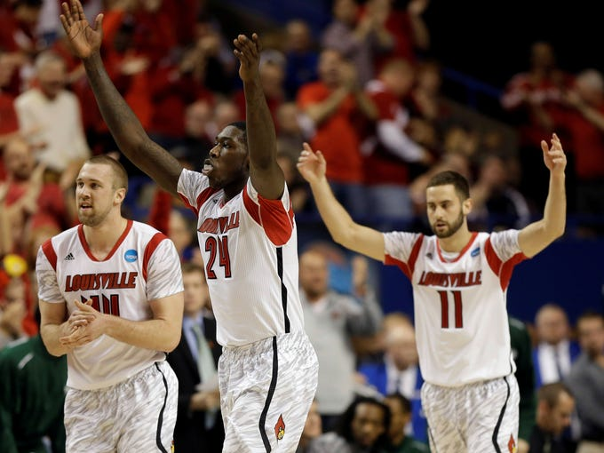 "Louisville again sported their Adidas ""adizero"" jerseys in the NCAA tournament in a March 23 win over Colorado State."