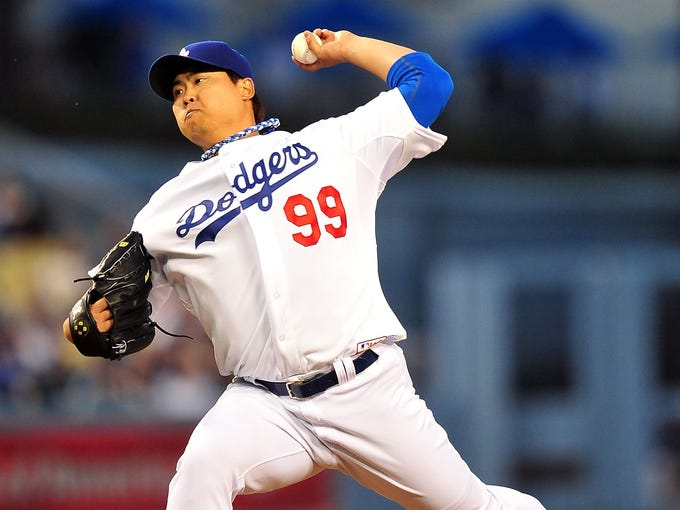 Korean starter Hyun-Jin Ryu makes his Major League debut with the Dodgers. He allows 10 hits in 6 1/3 innings and earns the loss against the Dodgers.