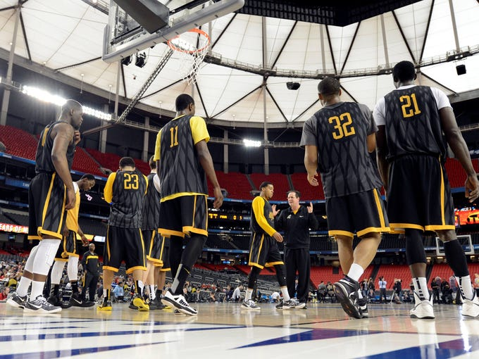 Wichita State head coach Gregg Marshall talks to his team during practice before the semifinals of the Final Four.