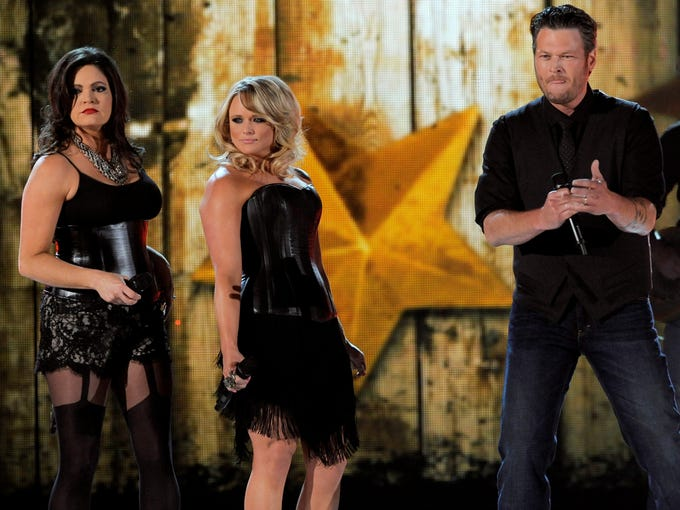 Host Blake Shelton opened the show performing 'Boys 'Round Here' from his new album, 'Based on a True Story.' Shelton had backup help from his wife, Miranda Lambert, center, and her Pistol Annies side project partner Angaleena Presley.