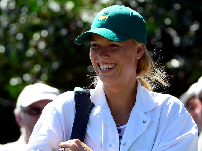 Caroline Wozniacki on the 2nd hole during the Par 3 Contest
