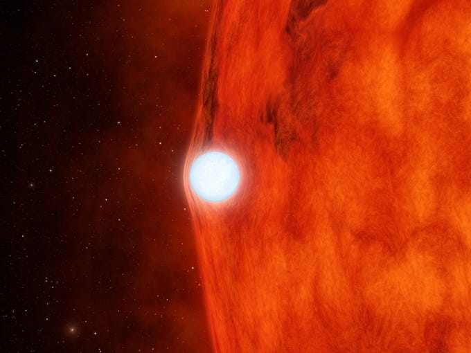 This NASA artist's animation obtained April 10 depicts an ultra-dense dead star, called a white dwarf, passing in front of a small red star. As the white dwarf crosses in front, its gravity is so great that it bends and magnifies the light of the red star.