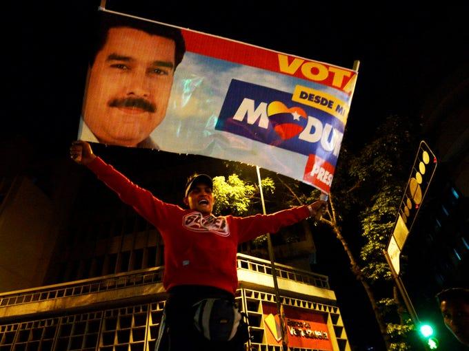 Celebrating Venezuelan President elect Nicolas Maduro's electoral victory.