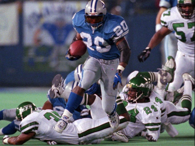 1. Barry Sanders, 1988, Oklahoma State: The Detroit Lions drafted arguably the greatest – and widely considered the most electric– running back in NFL history with the No. 3 overall pick of the 1989 draft. Sanders, a Pro Football Hall of Famer, ranks third on the all-time rushing list with 15,269 yards. Fans always will wonder what the NFL rushing record, held by Emmitt Smith at 18,355 yards, might be today had Sanders not shockingly retired after just 10 seasons.