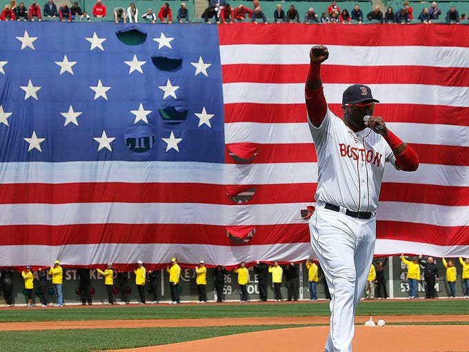 David Ortiz delivers a pregame speech to the fans at Fenway Park.