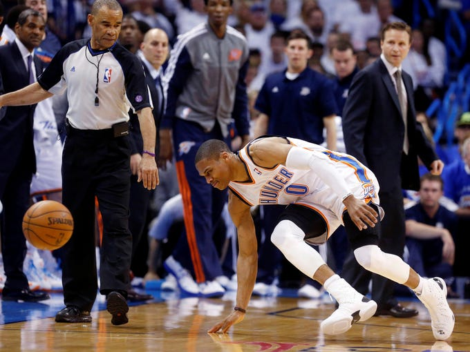 Thunder guard Russell Westbrook tore the lateral meniscus in his right knee on this play and is out indefinitely.