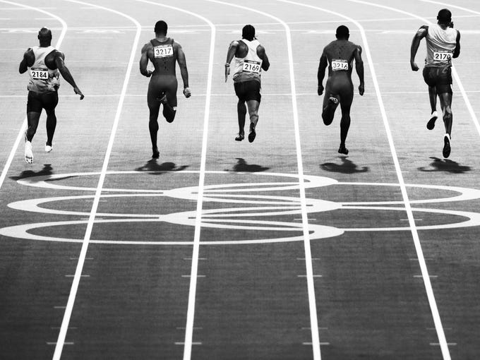 Winner of the Professional Sport Professional category in the 2013 Sony World Photography Awards is Adam Pretty from Australia. This photo shows the final of the Men's 100m at the London Olympic Games in 2012.