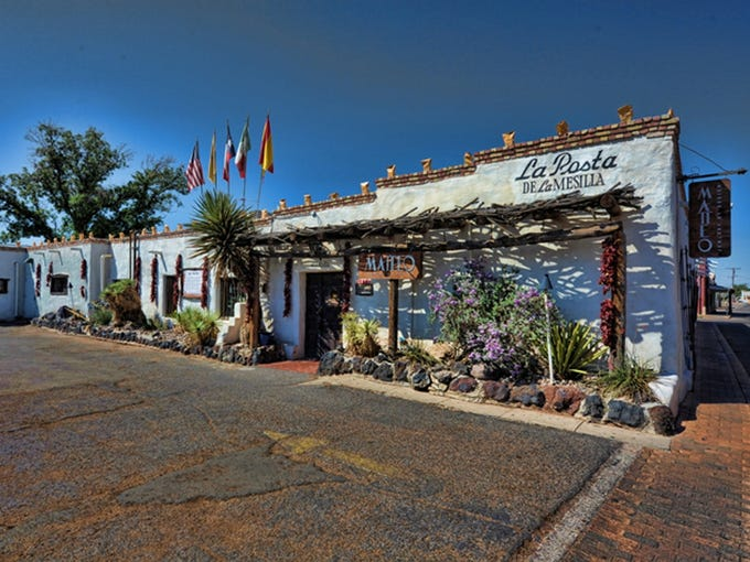 La Posta de Mesilla in New Mexico claims to be the first to have served complimentary chips and salsa to its customers. The restaurant, housed in an 18th-century adobe building, is known for enchiladas and carne adovada, a flavorful pork stew.