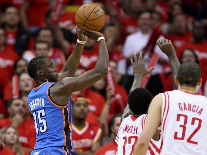 Game 6 in Houston: Thunder 103, Rockets 94 - Reggie Jackson pulls up for a shot.