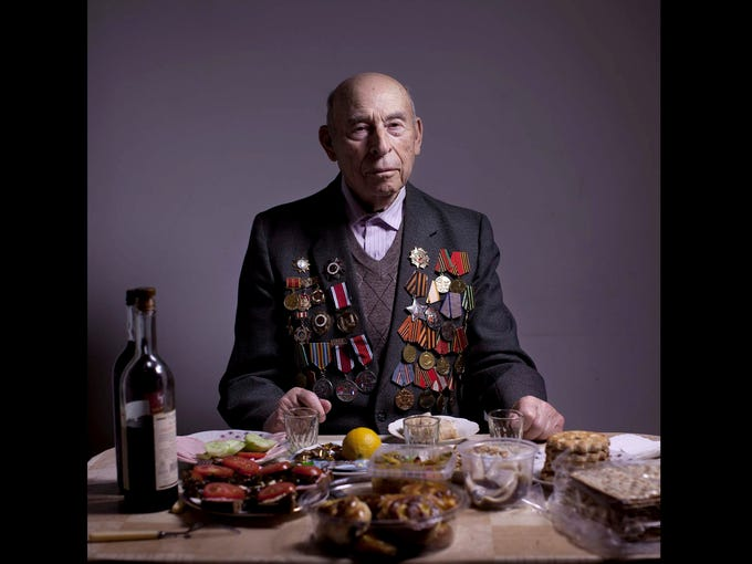 Soviet Jewish World War II veteran Boris Ginsburg poses for a portrait at his house in Ashdod, Israel. Ginsburg, born in Belorussia, was kept by a German garrison in the Lenin ghetto from 1941-2. He then joined the partisans for two years and in 1944 he joined the Red Army as a combat soldier. Ginsburg demobilized in 1947 and immigrated to Israel in 2001. About 500,000 Soviet Jews served in the Red Army during World War II, and the majority of those still alive today, live in Israel.