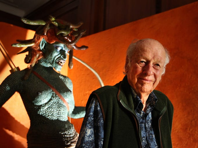 Special effects creator Ray Harryhausen poses with an enlarged model of Medusa from his 1981 film 'Clash Of The Titans' at the The Myths And Legends Exhibition at The London Film Museum in 2010. Harryhausen was considered the father of modern-day special effects.  He died May 7, 2013, at the age of 92.