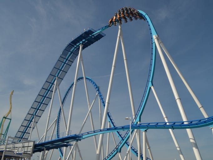 GateKeeper, the new wing roller coaster at Cedar Point amusement park/resort in Sandusky, Ohio, breaks seven world records, boasting the longest track (4,164 feet), tallest drop (164 feet) and six inversions, the most of any wing coaster on the planet. It debuts May 11, 2013.