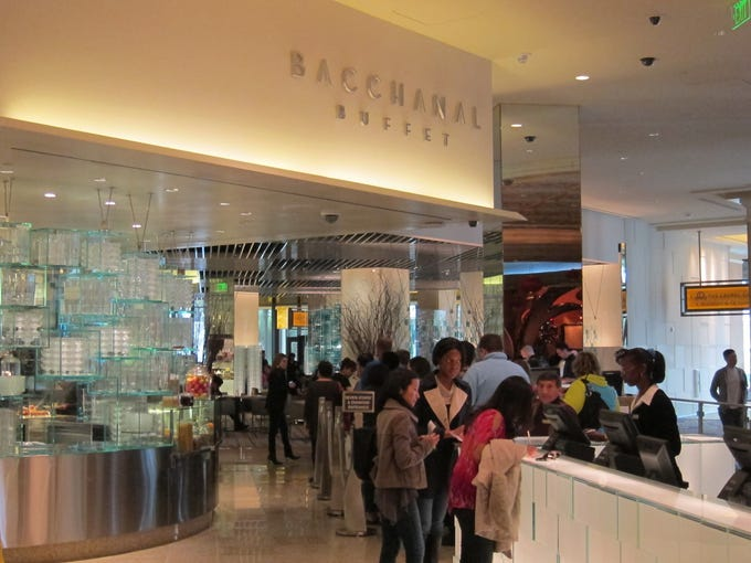 The line to get into the Bacchanal Buffet at Caesars Palace.