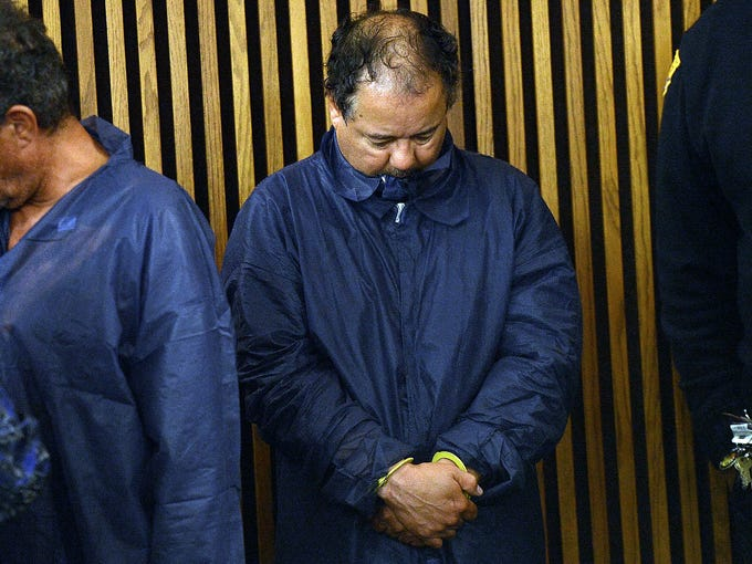 Ariel Castro is arraigned at Cleveland Municipal Court on four counts of kidnapping and three counts of rape on May 9. Bail was set at $8 million.