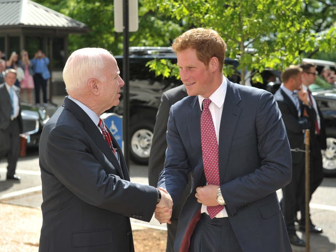 He's here! Britain's Prince Harry arrived in the USA in style on May 9, making a quick trip from Washington Dulles Airport to Capitol Hill for the first leg of his stateside tour. Here, the young royal is greeted by U.S. Senator John McCain, R-Ariz., as he arrives at the Russell Senate Office Building to visit a photo exhibition on land mines and unexploded ordinance.