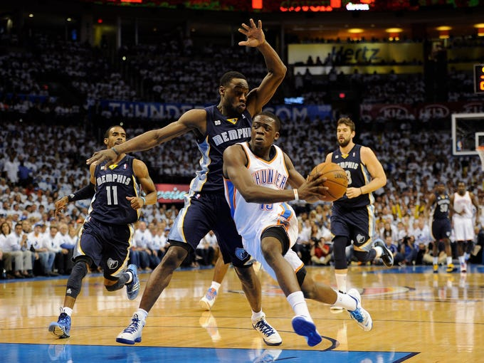 Game 5 in Oklahoma City: Grizzlies 88, Thunder 84 -- Reggie Jackson (15) drives the ball past Tony Allen (9).