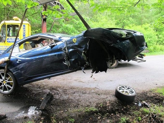This photo released by Czech Police shows the damaged Ferrari of Philadelphia Flyers winger Jakub Voracek. Voracek was uninjured in the May 22, 2013 crash.