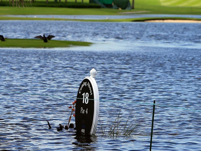 Flooding canceled the first round of the Pure Silk-Bahamas LPGA Classic at the Ocean Course Golf Club on May 23, 2013 in Paradise Island, Bahamas.  The LPGA will play 12 holes in the first round.