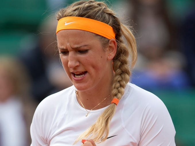 Victoria Azarenka reacts during her match against Annika Beck