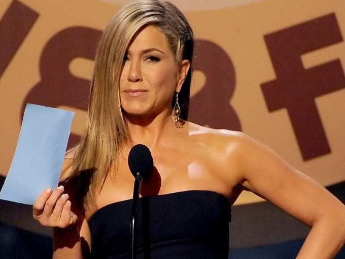 Jennifer Aniston speaks during Spike TV's Guys Choice 2013 in Culver City, Calif.