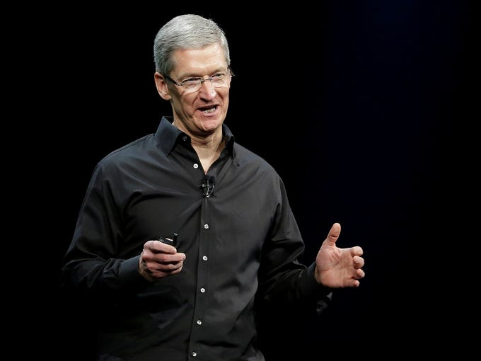 Apple CEO Tim Cook speaks during the keynote address of the Apple Worldwide Developers Conference on Monday in San Francisco.