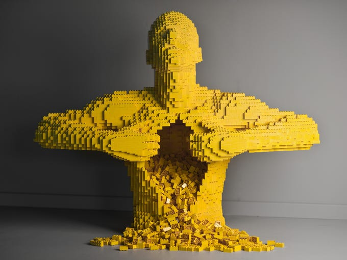 Nathan Sawaya, known as the Brick Artist, builds sculptures out of Legos. He has a new exhibition opening in New York City in June 2013. Here, his sculpture called Yellow.