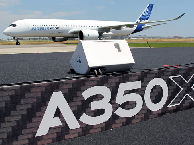 The Airbus A350 completed its maiden flight at Blagnac Airport near Toulouse, France, on June 14, 2013, setting the stage for intensifying competition with U.S. rival Boeing in the long-haul wide-body aircraft market.