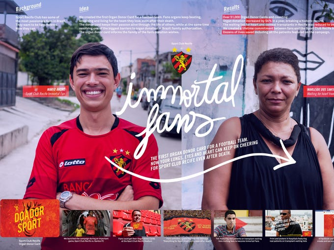Brazil's Sport Club Recife took the top Grand Prix award for the Promo and Activation category. Its  Immortal Fans promotional campaign created the first organ donor card for a football team.