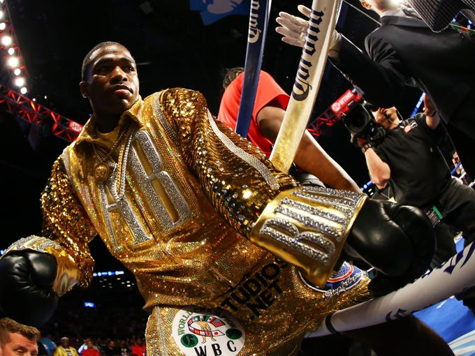 Adrien Broner enters the ring for his WBA Welterweight title bout against Paulie Malignaggi