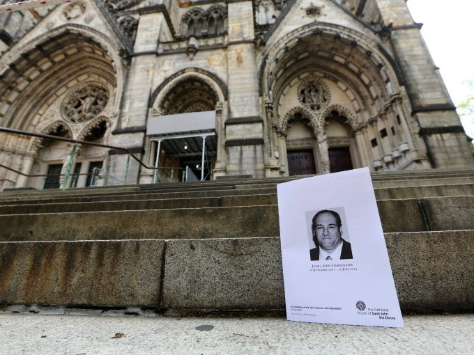 On Thursday, 1,800 mourners, including the cast of 'The Sopranos,' came out to bid farewell to co-star James Gandolfini at New York's Cathedral Church of Saint John the Divine. Gandolfini, a three-time Emmy winner, died while vacationing in Italy last week.