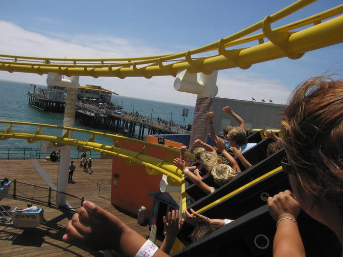 At Pacific Park on California's Santa Monica Pier, you'll get the best views of the Pacific Ocean by riding the West Coaster -- the only steel roller coaster on the West Coast located on a pier over the ocean itself.