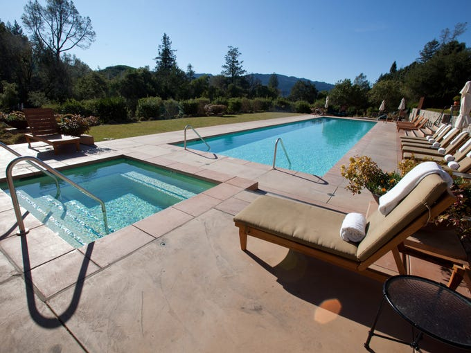 Hundreds of wineries dot the rolling hills in Napa and Sonoma counties, the heart of California wine country. Visitors come from all over the globe for the region's beautiful vineyards, quaint towns, hot air balloon rides, world-class cuisine and, of course, wine. Travelers looking to get pampered should consider these top luxury hotels. Calistoga Ranch, an Auberge Resort, Napa Valley: It's no wonder royalty, A-list celebrities, and athletes keep returning to the luxury Calistoga Ranch: It's in a class all by itself. Guests rent exquisite private lodges, set on a private 157-acre park-like property complete with hiking trails and a top-of-the-line restaurant and spa. Attention to detail carries over from room design to landscape planning -- all modules for the lodges were flown in by helicopter to minimize impact on surrounding trees and to maximize privacy. The property boasts plenty of activities, including outdoor yoga, a beautiful heated outdoor pool, a bocce court, a fabulous fitness center, and wine tasting seminars. If guests decide to venture out for some reason, they can easily access downtown Calistoga and other towns with not only loaner bikes, but loaner Mercedes-Benzes.