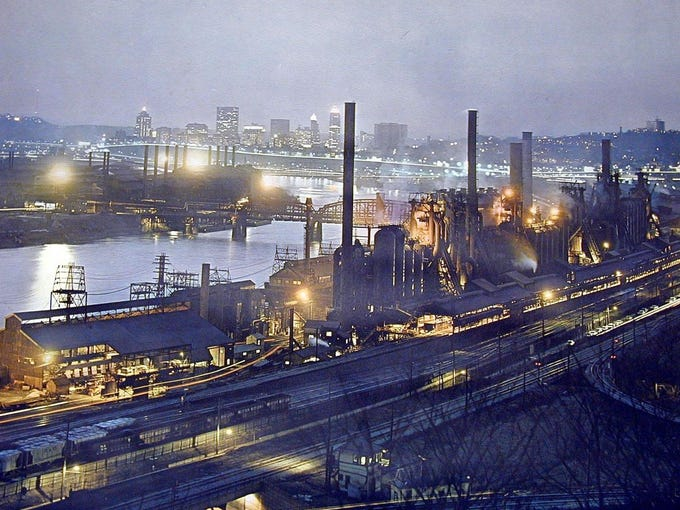 Once the steel capital of the world, Pittsburgh faced a challenge when its most important industry declined. The Rivers of Steel National Heritage Area, a nonprofit that manages historic sites related to Big Steel, is now turning industrial relics into tourist sites. Here are several places where you can celebrate Pittsburgh's steel heritage: A 1960s photo of Jones & Laughlin Steel Co. illustrates why the city was known as Steel City. In its manufacturing heyday, Pittsburgh produced steel for some of America's greatest icons, including the Empire State Building, Oakland Bay Bridge, Panama Canal Locks, St. Louis Arch and the former Chicago Sears Tower.