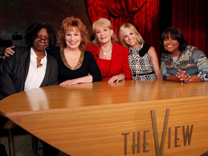 The game of musical chairs on 'The View' still hasn't stopped. Elisabeth Hasselbeck left, Joy Behar is out later this summer and Barbara Walters is exiting next year. So whose new views will air on ABC? That's Whoopi Goldberg, left, Behar, Walters, Hasselbeck and Sherri Shepherd in 2010.