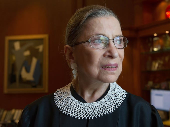 Supreme Court Associate Justice Ruth Bader Ginsburg poses in her chambers on July 26 in Washington, D.C. Ginsburg is approaching her 20-year anniversary on the high court.