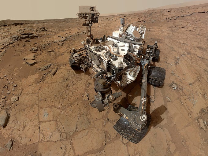 NASA's Curiosity rover takes a selfie on June 5 in Gale Crater on Mars. One year ago, after seven terrifying minutes, the Curiosity rover successfully landed on Mars.