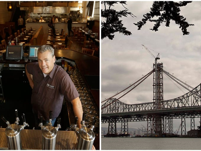 """Left, Nico Freccia, co-founder and chief operating officer of the 21st Amendment Brewery, at his bar in San Francisco, and right, a construction worker on the eastern span of the Oakland-San Francisco Bay Bridge, on  Tuesday, Feb. 28, 2012. Amendment Brewery has opened offices in the East Bay and is scouting space there for a 80,000-square-foot  brewery, hoping to """"help anchor the revitalization"""" of an Oakland neighborhood."""