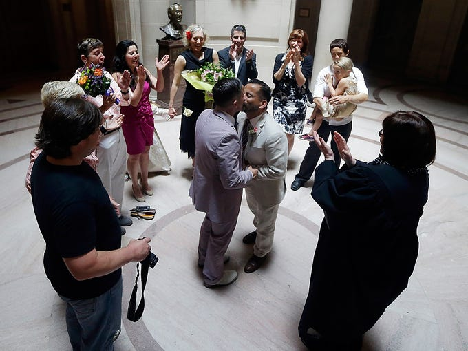 Same-sex couples get married in California
