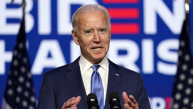 Democratic presidential candidate former Vice President Joe Biden speaks Friday in Wilmington, Del. The Associated Press and CNN have projected Biden as the winner of the presidential election.