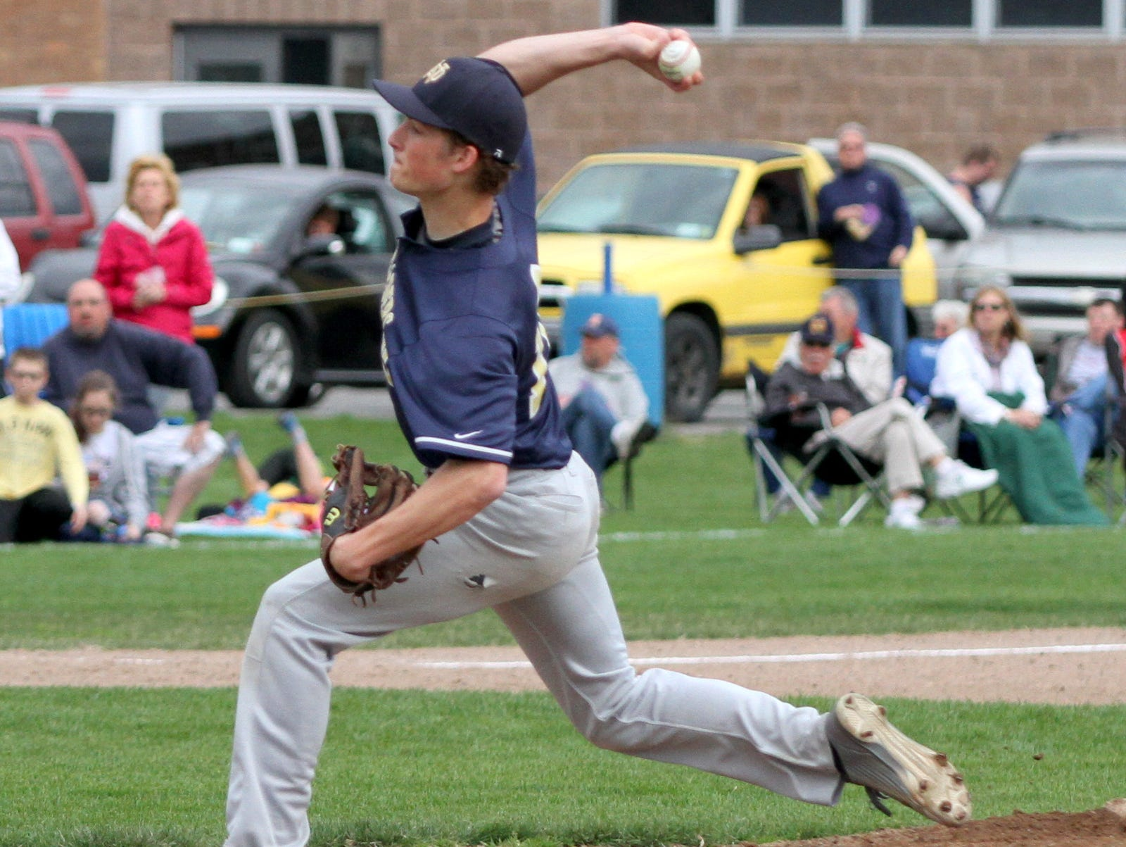 Notre Dame's Parker May delivers a pitch against Thomas A. Edison during the 2015 season.