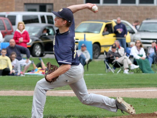 Notre Dame's Parker May delivers a pitch against Thomas