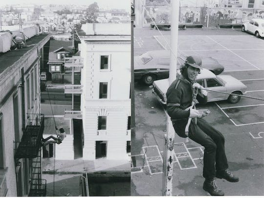 Suicide Club members Peter Field and Bob Campbell (right) rappel and climb at the abandoned hospital in the Haight-Ashbury District of San Francisco, where many of the club members lived.