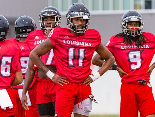 Also a receiver, Michael Jacquet (11) is working at cornerback in preseason camp for the Ragin' Cajuns.