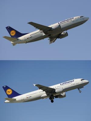 A Lufthansa Boeing 737, top, and a Lufthansa A320.