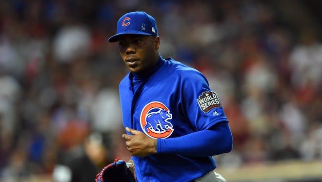 Chicago Cubs closer Aroldis Chapman.