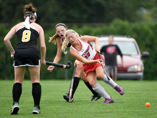 Annville-Cleona's Addie Plummer pushes the ball downfield.