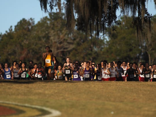 The start of the Class 2A Boys State Cross Country Championship Saturday at Apalachee Regional Park in Tallahassee.