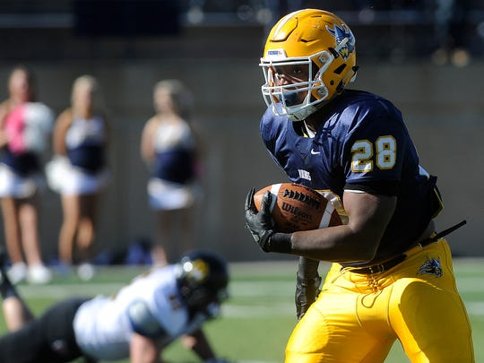 Augustana's #28 CJ Ham runs down the field against Wayne State during football action at Kirkeby-Over Stadium in Sioux Falls, SD; Saturday, Oct. 17, 2015.
