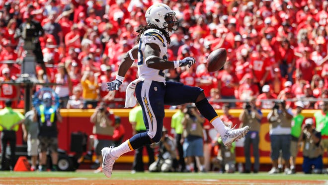 Running back Melvin Gordon of the San Diego Chargers celebrates his second touchdown of the game Sunday against the Kansas City Chiefs.