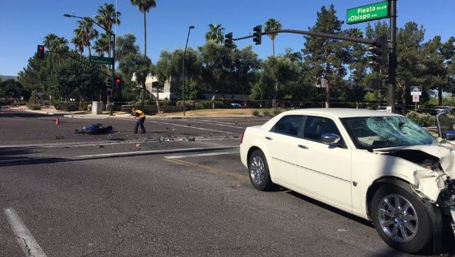 The scene of a crash on Guadalupe Road that killed a motorcyclist in Gilbert on May 18, 2017.